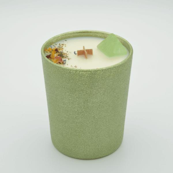 Krystalová svíčka s fluoritem- Svíčky Dória