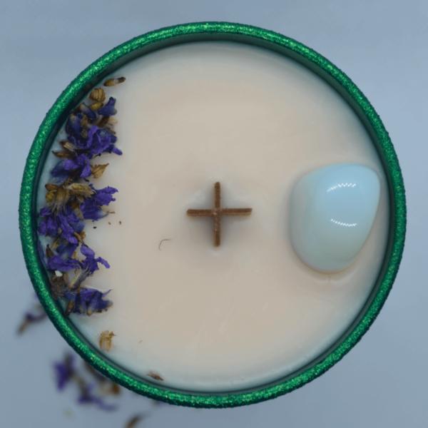 Levandulová svíčka s opalitem 2