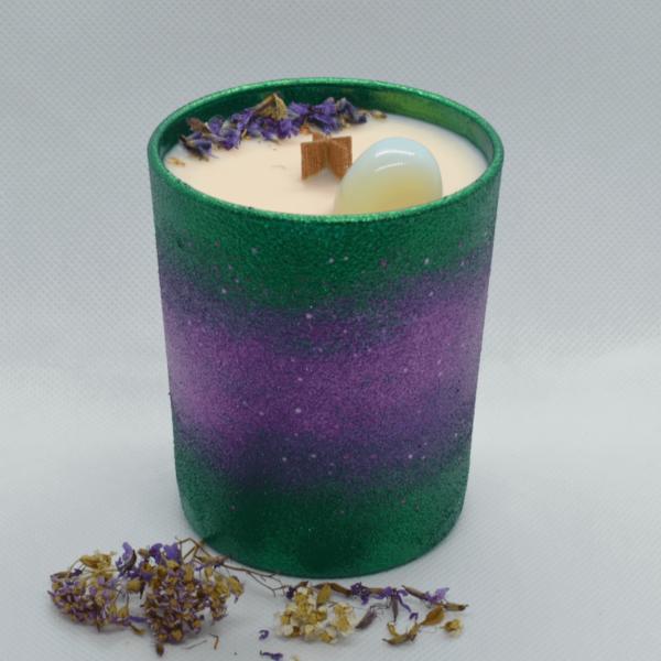 Levandulová svíčka s opalitem
